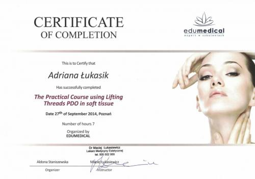 Certificat of completion Lifting threads PDO in soft tissue 2014-1-min